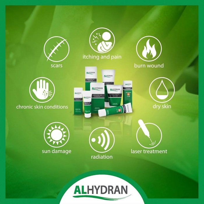 Alhydran used for list of skin conditions