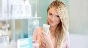 Lady buying skincare products