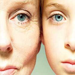 Face with ageing skin and youthful skin
